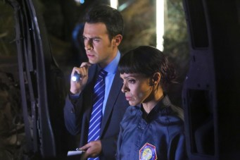 "BONES: L-R: John Boyd and Tamara Taylor in the ""The Loyalty in the Lie"" season premiere of BONES airing Thursday, Oct. 1 (8:00-9:00 PM ET/PT) on FOX. ©2015 Fox Broadcasting Co. Cr: Kevin Estrada/FOX"