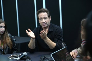 THE X-FILES: THE X-FILES Cast Member David Duchovny is interviewed by the press during FOX FANFARE 2015 at New York Comic Con on Saturday, Oct. 10 at Javits Center in New York, NY.  CR: Ben Hider/FOX