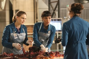 "BONES: L-R: Emily Deschanel, Tamara Taylor and Michaela Conlin in the second part of the two-hour ""The Cowboy in the Contest/The Doom in the Boom"" fall finale episode of BONES airing Thursday, Dec. 10 (8:00-10:00 PM ET/PT) on FOX. ©2015 Fox Broadcasting Co. Cr: Jennifer Clasen/FOX"