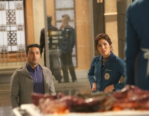 """BONES: L-R: Guest star Pej Vahdat and Michaela Conlin in the second part of the two-hour """"The Cowboy in the Contest/The Doom in the Boom"""" fall finale episode of BONES airing Thursday, Dec. 10 (8:00-10:00 PM ET/PT) on FOX. ©2015 Fox Broadcasting Co. Cr: Jennifer Clasen/FOX"""