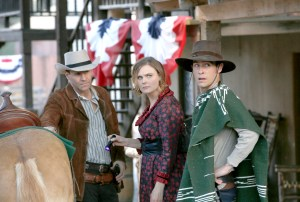 "BONES:  L-R:  David Boreanaz, Emily Deschanel and John Boyd in the first part of the two-hour ""The Cowboy in the Contest/The Doom in the Boom"" fall finale episode of BONES airing Thursday, Dec. 10 (8:00-10:00 PM ET/PT) on FOX.  ©2015 Fox Broadcasting Co.  Cr:  Jennifer Clasen/FOX"