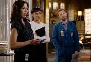 "BONES:  L-R:  Michaela Conlin, Tamara Taylor and TJ Thyne in the first part of the two-hour ""The Cowboy in the Contest/The Doom in the Boom"" fall finale episode of BONES airing Thursday, Dec. 10 (8:00-10:00 PM ET/PT) on FOX.  ©2015 Fox Broadcasting Co.  Cr:  Jennifer Clasen/FOX"