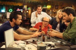 "IT'S ALWAYS SUNNY IN PHILADELPHIA -- ""Chardee MacDennis 2: Electric Boogaloo"" -- Episode 1101 (Airs Wednesday, January 6, 10:00 pm e/p) Pictured: (l-r) Rob McElhenney as Mac, Andy Buckley as Andy, Danny DeVito as Frank, Kaitlin Olson as Dee, Glenn Howerton as Dennis, Charlie Day as Charlie.  CR: Patrick McElhenney/FX"