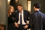 "BONES: L-R: Emily Deschanel, David Boreanaz and guest star XXX in the Spring premiere ""The Death In The Defense"" episode of BONES airing Thursday, April 14 (8:00-9:00 PM ET/PT) on FOX. ©2016 Fox Broadcasting Co. Cr: Patrick McElhenney/FOX"