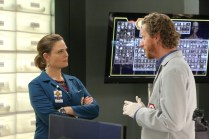 "BONES: L-R: Emily Deschanel and guest star Brian Klugman in the ""The Fight in the Fixer"" episode of BONES airing Thursday, May 12 (8:00-9:00 PM ET/PT) on FOX. ©2016 Fox Broadcasting Co. Cr: Patrick McElhenney/FOX"