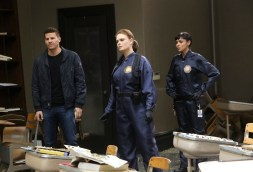"BONES: L-R: David Boreanaz, Emily Deschanel and Tamara Taylor in the ""The Nightmare Within The Nightmare"" season finale episode of BONES airing Thursday, July 21 (8:00-9:00 PM ET/PT) on FOX. ©2016 Fox Broadcasting Co. Cr: Patrick McElhenney/FOX"