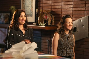 "BONES: L-R: Michaela Conlin and guest star Carla Gallo in the ""The Brain in the Bot"" episode of BONES airing Tuesday, Jan. 10 (9:01-10:00 PM ET/PT) on FOX. ©2016 Fox Broadcasting Co. Cr: Patrick McElhenney/FOX"