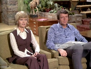 "Florence Henderson as Carol Brady and Robert Reed as Mike Brady in the Brady Brunch episode, ""Getting Davy Jones."" Original air date, December 10, 1971. Season 3, episode 12.  Image is a screen grab. Copyright ©1971 CBS Broadcasting Inc. All Rights Reserved. Credit: CBS Photo Archive."