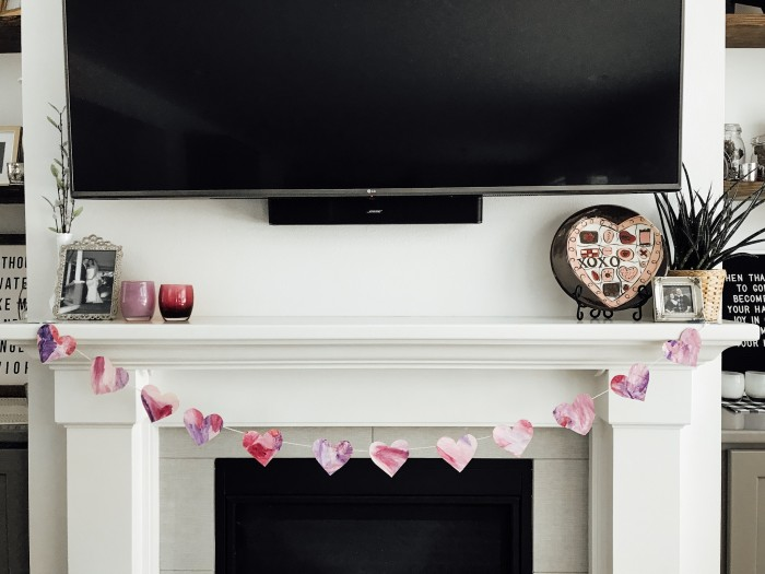 Valentine's Day Watercolor Heart Banner