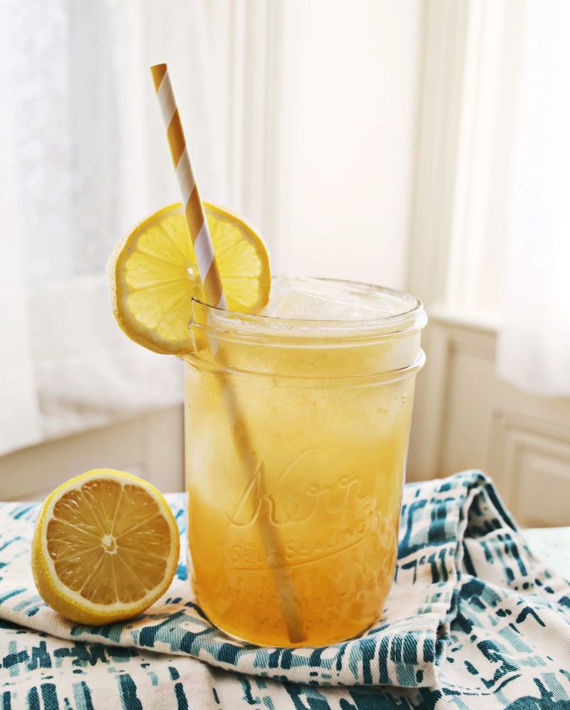 Whiskey lemonade with honey drink from A Beautiful Mess