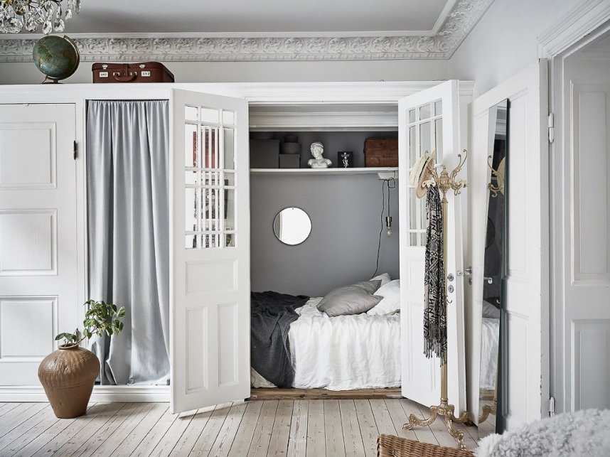 hidden bedroom in a nordic home