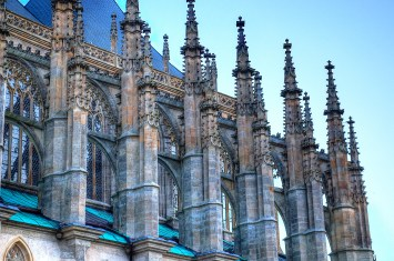 flying buttresses on cathedral in Kutna Hora