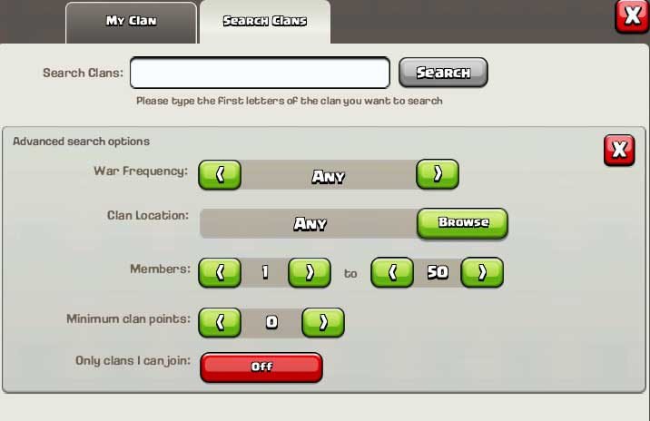 Advanced-Clan-Search-Clash of Clans