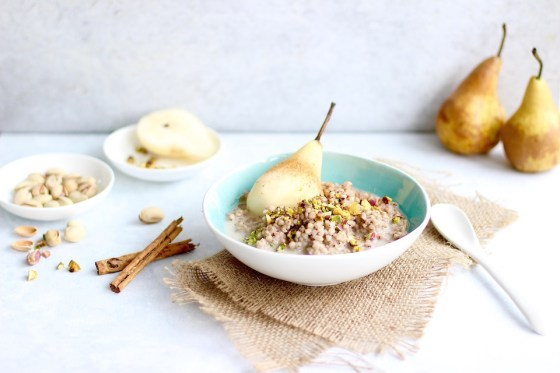 Buckwheat Porridge with Chamomile Poached Pear