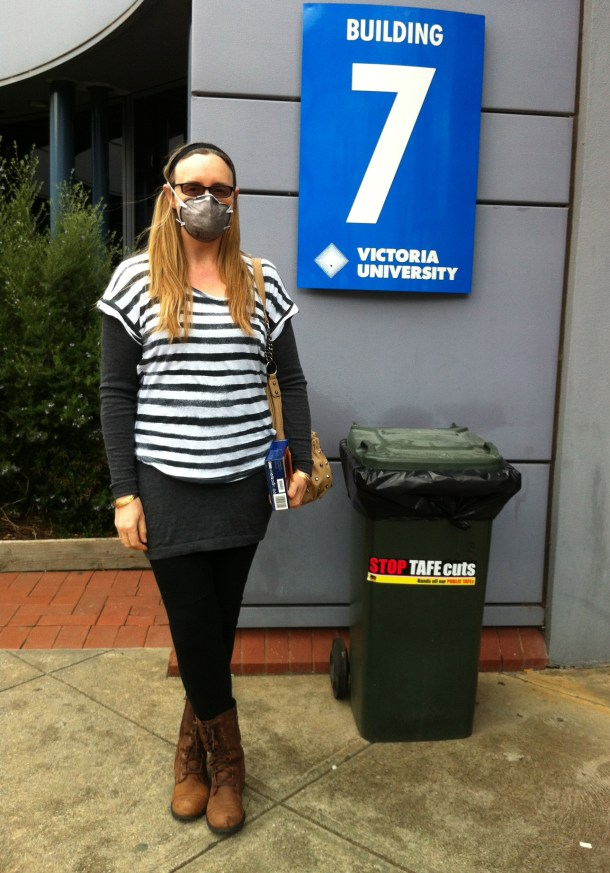 Michellina Van Loder: chemically sensitive, and wearing a mask so as to engage in  Victoria University's Professional Writing and Editing studies