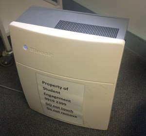One of the six Blue Air Purifiers provided by VU. This one's in the Perfume Free Library Room