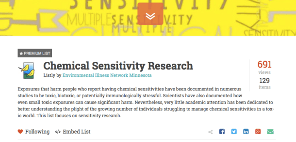 Chemical Sensitivity Research List