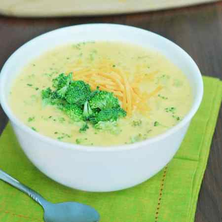 Broccoli-Cheddar Cheese Soup - creamy with a touch of green. It's to die for.