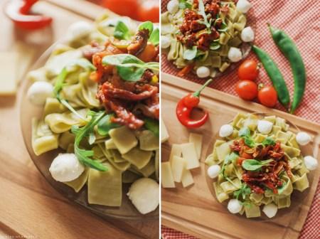 Рецепт пасты со шпинатом, вялеными томатами и моцареллой