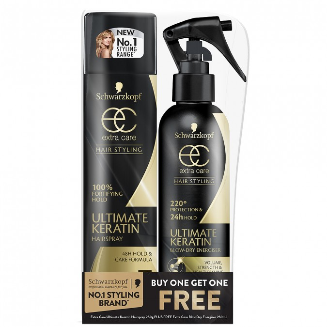 SCHWARZKOPF Extra Care Ultimate Keratin Blow Dry Spray & Hairspray Available at Priceline for $6.99
