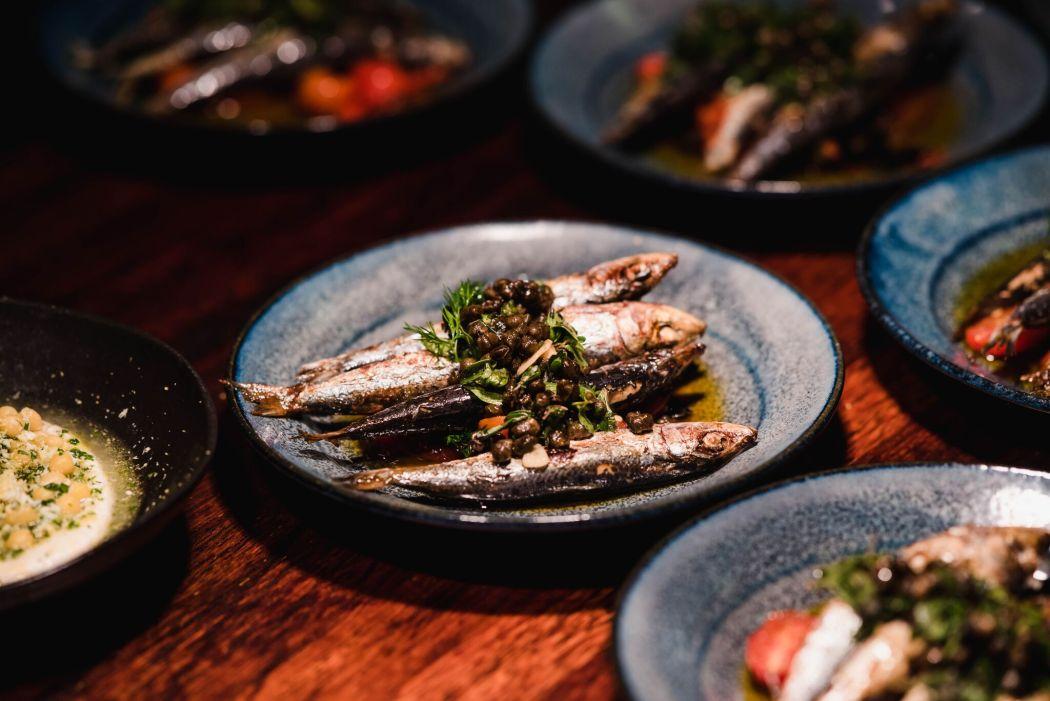 Smoked Sardines, Preserved Tomatoes