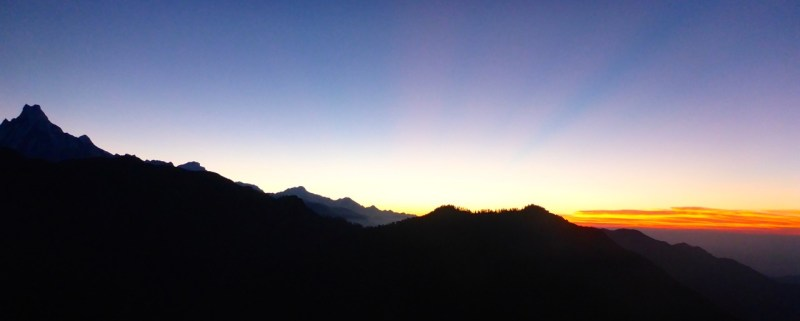 The sunrise view from Poon Hill, Nepal.