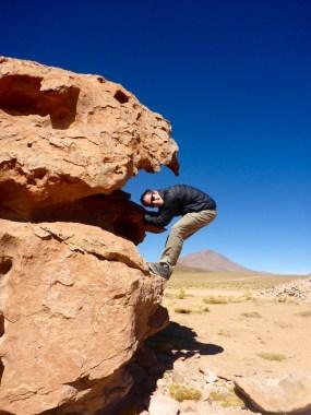 Climbing on rocks