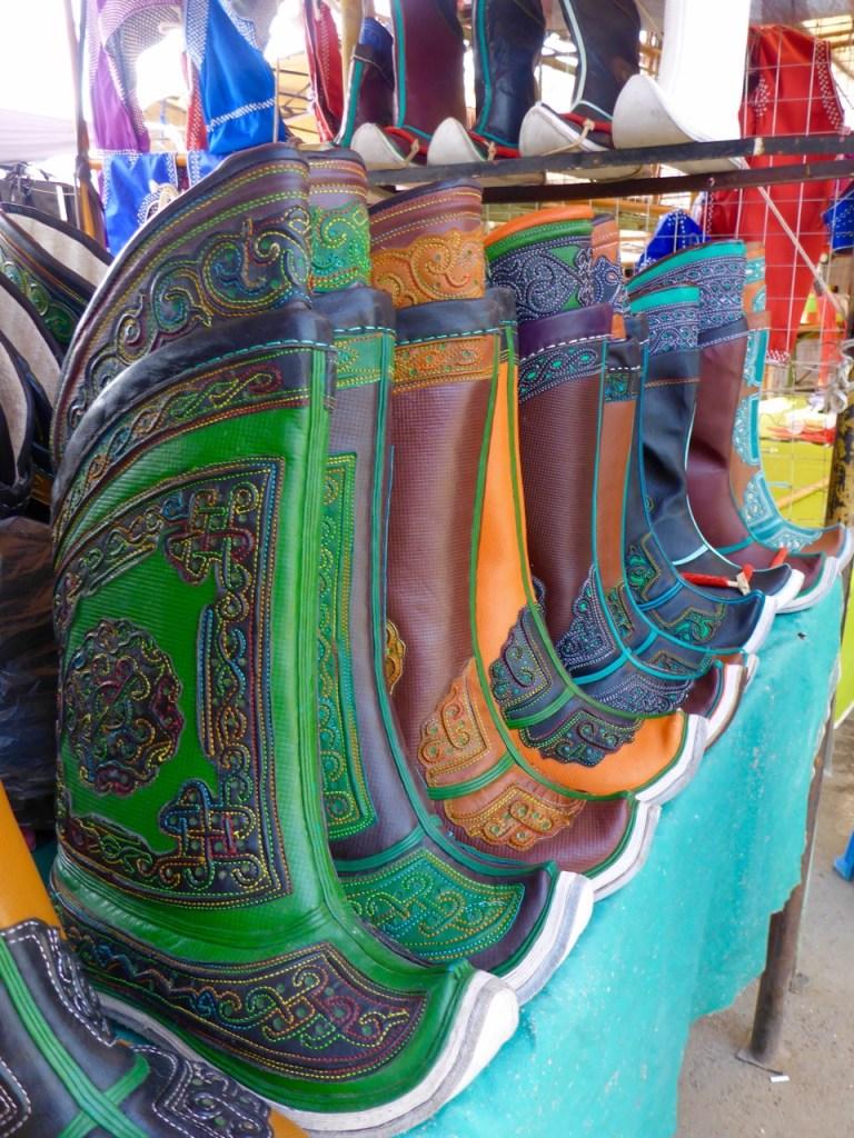 Mongolian boots at the black market in UlaanBataar