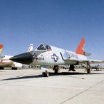 This photo shows two QF-106 aircraft that were used for the Eclipse project, both parked at the Mojave Airport in Mojave, Calif. (NASA photo)