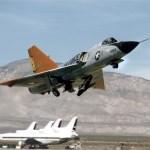 Shot of QF-106 aircraft taking off from Mojave Airport, Calif. (NASA Photo)