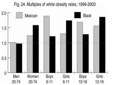 Black and Hispanic OBesity rates as a multiple of Whites 1993-2003 (Amren 2004)