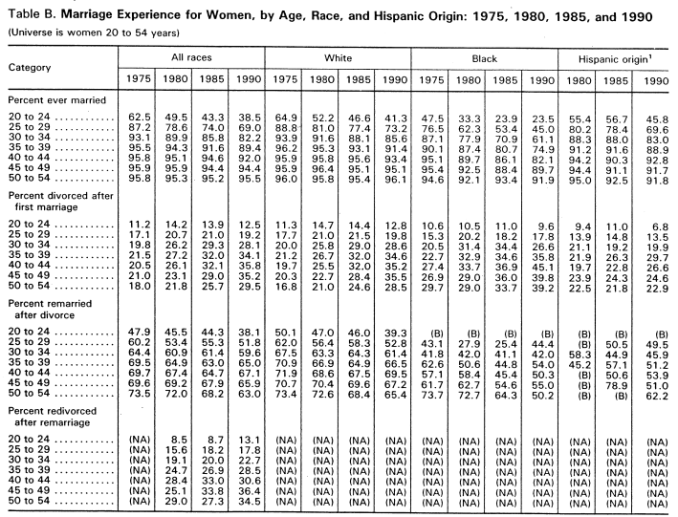 Marriage experience by race 1975-1990