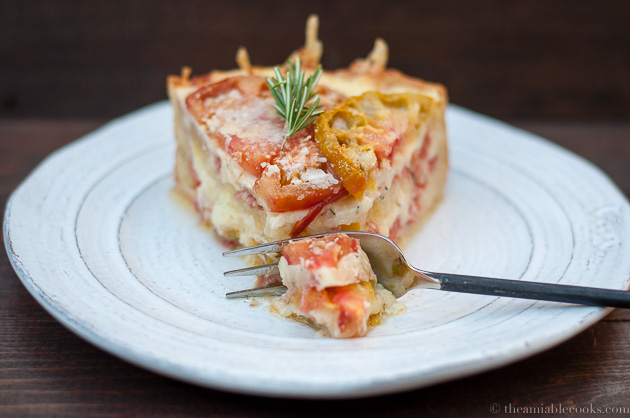 tomato-fontina torte with rosemary crust in slice-1