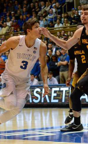 Duke's Grayson Allen looks to drive past redshirt sophomore Jake Wilson
