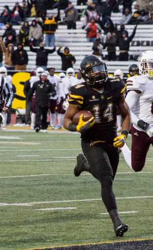Senior Running Back, Marcus Cox, scores a touchdown during the game against Monroe. He is now Appalachian State's all time leading rusher.