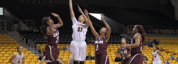 Senior forward KeKe Cooper goes up for one of her 6 baskets during Saturday's 64-52 victory over Louisiana-Monroe. Cooper notched her fourth double-double of the season in the win.  Photo courtesy of Appalachian State Athletics | Bill Sheffield.