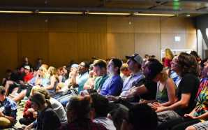 Students attend on-campus debate viewing