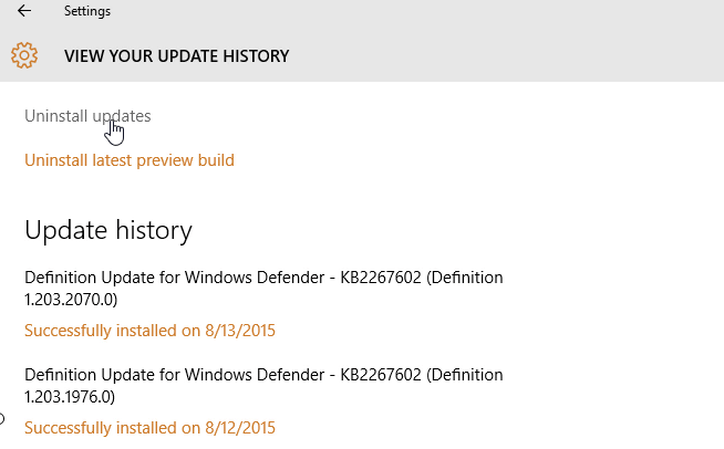 customize windows 10 - uninstall updates