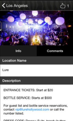 NiLi Nightlife Concierge entry details