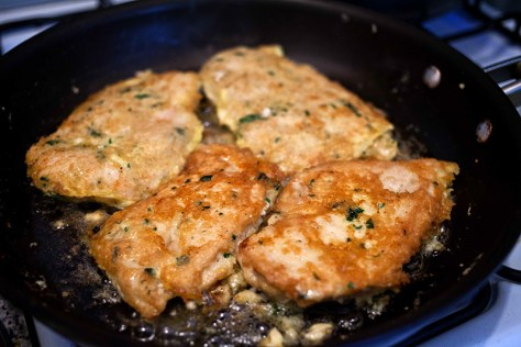 Flip chicken over and saute another 6 minutes until golden brown.