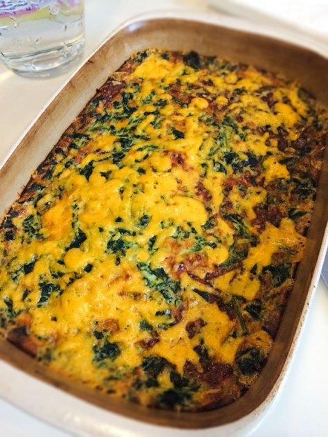 Gluten-Free Spinach, Mushroom and Cheese Egg Casserole