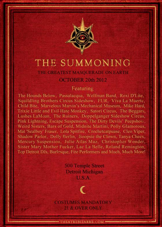 The Summoning Theatre Bizarre Acts Theatre Bizarre Lineup upcoming shows  