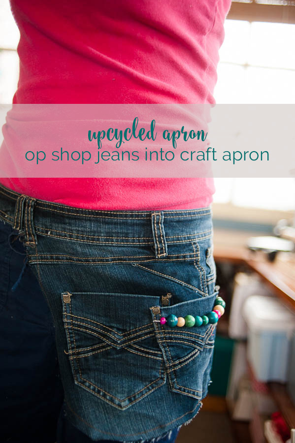 how I upcycled a pair of op-shop jeans into a cute beaded craft tool apron
