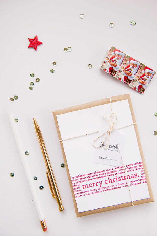 merry christmas - letterpress Christmas cards - white envelopes ...