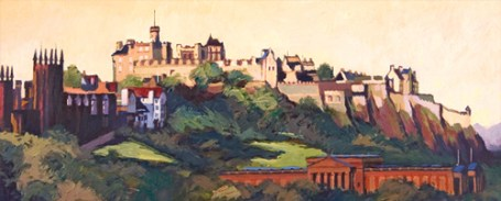 Edinburgh castle and National Gallery by T Montague