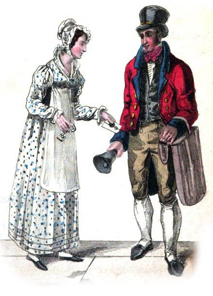 Lady giving a letter to a Regency postman