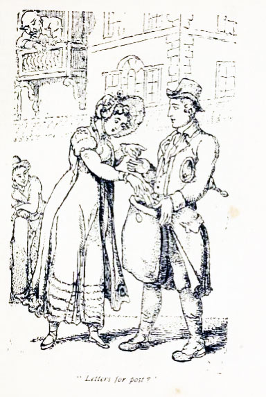 Drawing of a Regency lady putting letters into a postman's bag.