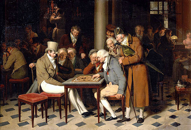 Coffee house scene with men playing checkers