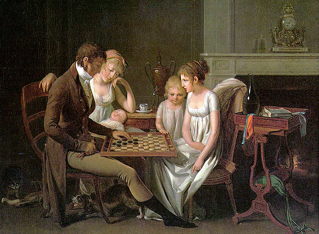 A man and wife in their parlor playing checkers