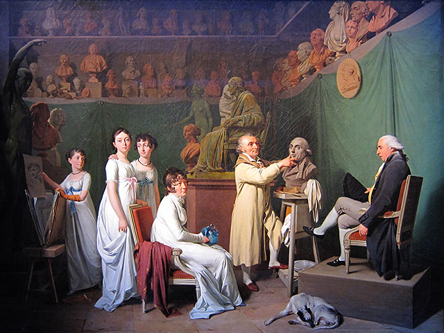 A sculptor's studio, with many people watching the sculptor complete the bust of a man